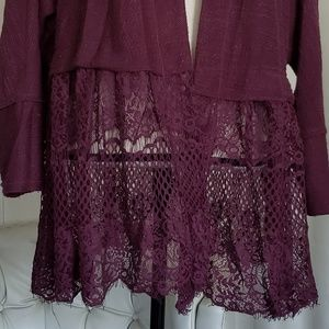 Pink Rose Sweaters - Plum open cardigan M